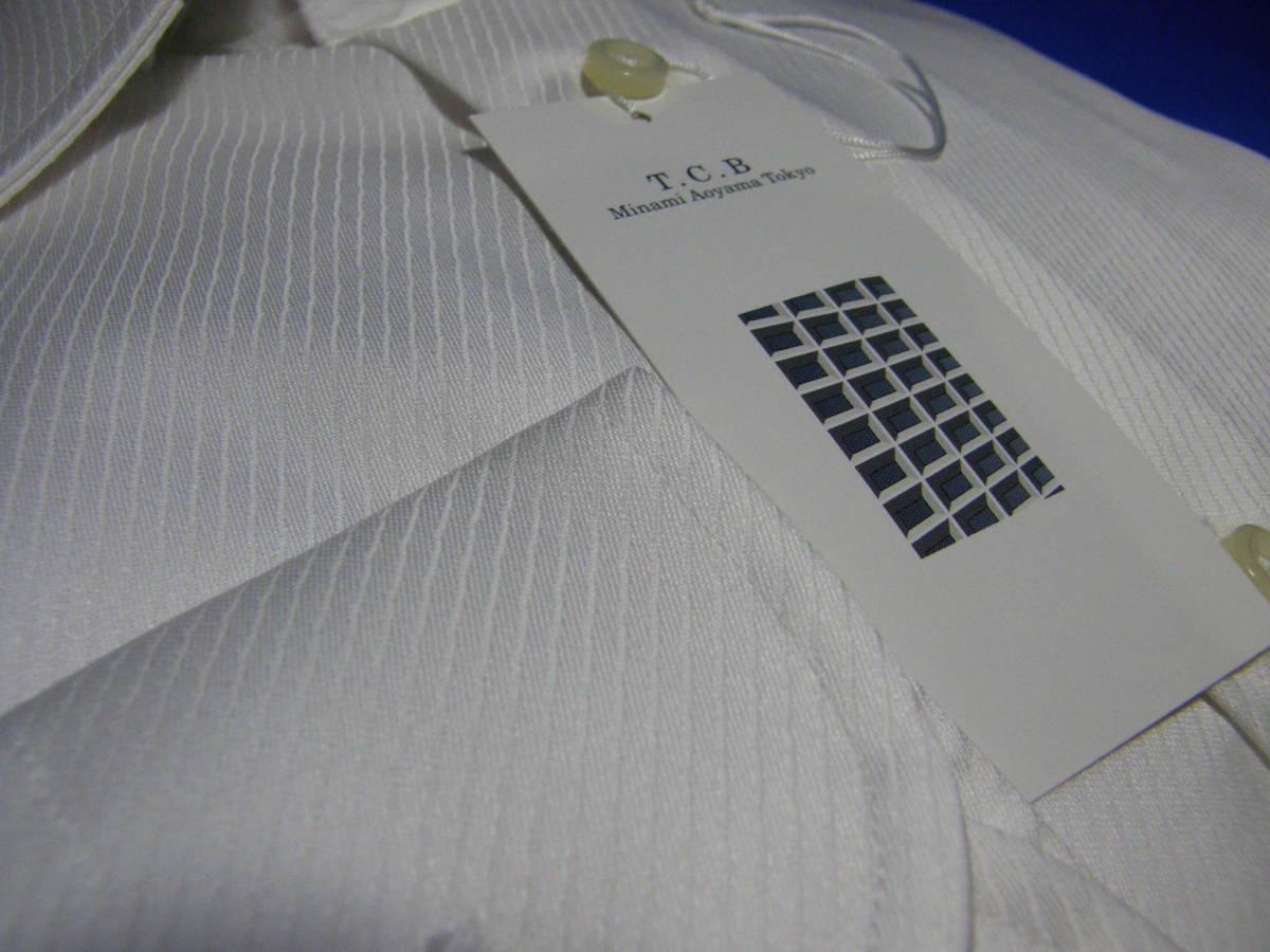 T.C.B AOYAMAのL41-86 高級仕立てワイシャツ ワイドカラーYシャツ2 織柄青山形態安定白ホワイトスタイリッシュスリムタイプゆったり_画像2