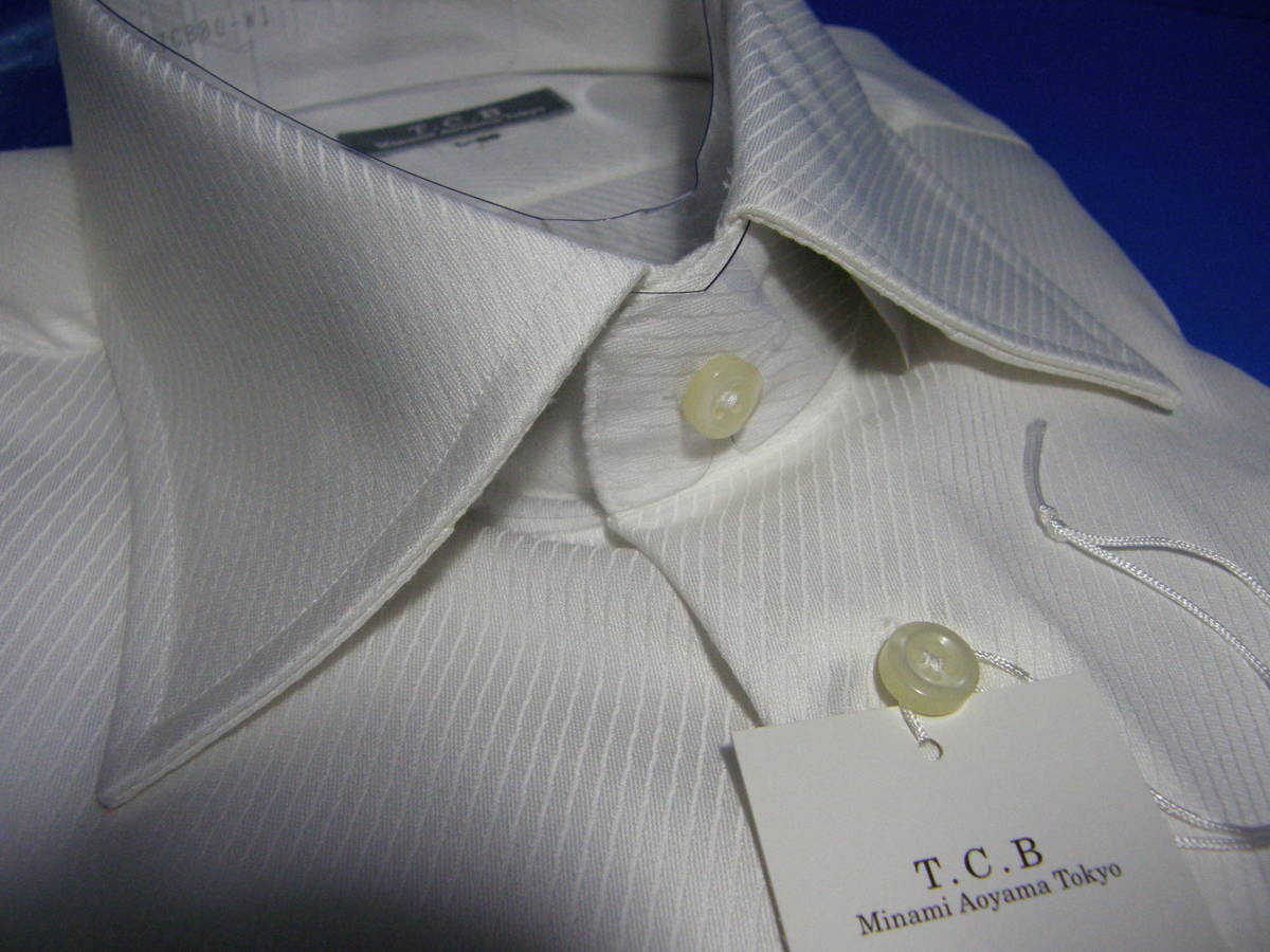 T.C.B AOYAMAのL41-86 高級仕立てワイシャツ ワイドカラーYシャツ2 織柄青山形態安定白ホワイトスタイリッシュスリムタイプゆったり_画像3