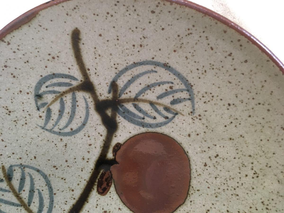 即決! 益子焼 おおつか窯元謹製柿の実柄大絵皿(径約31×5cm)飾り台付 未使用_画像4