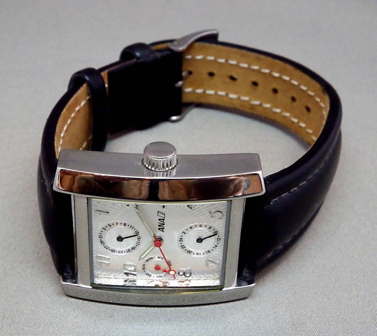 EU-9674■ANA メンズ腕時計 3針カレンダ- 角型 革バンド 中古_画像2