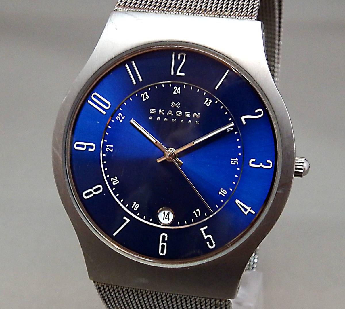EU-9675■SKAGEN スカーゲン メンズ腕時計 3針カレンダ- 233XLTTN 丸型 中古_画像1