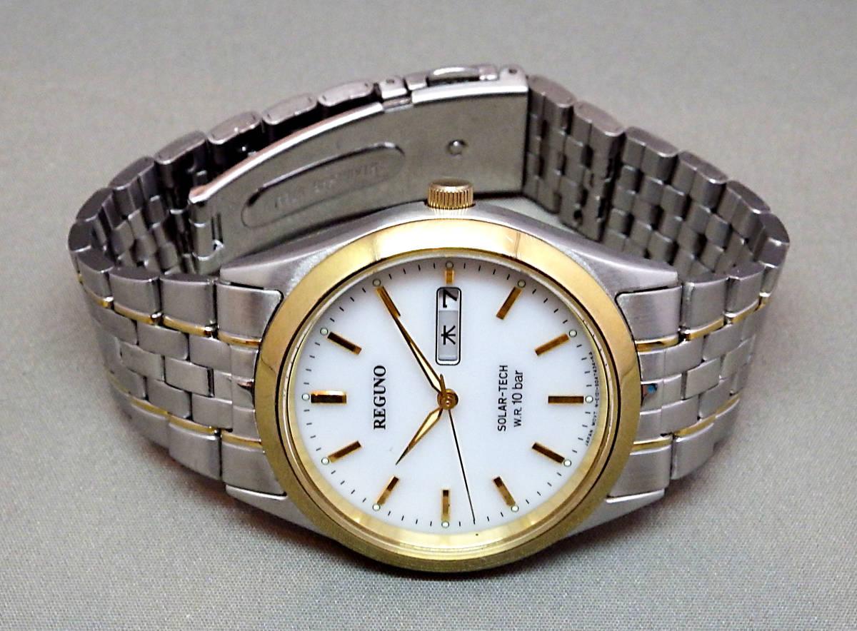 EU-9681■シチズン REGUNO レグノ メンズ腕時計 3針カレンダ- ソーラー 中古_画像2