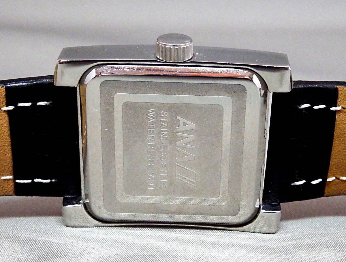 EU-9674■ANA メンズ腕時計 3針カレンダ- 角型 革バンド 中古_画像4