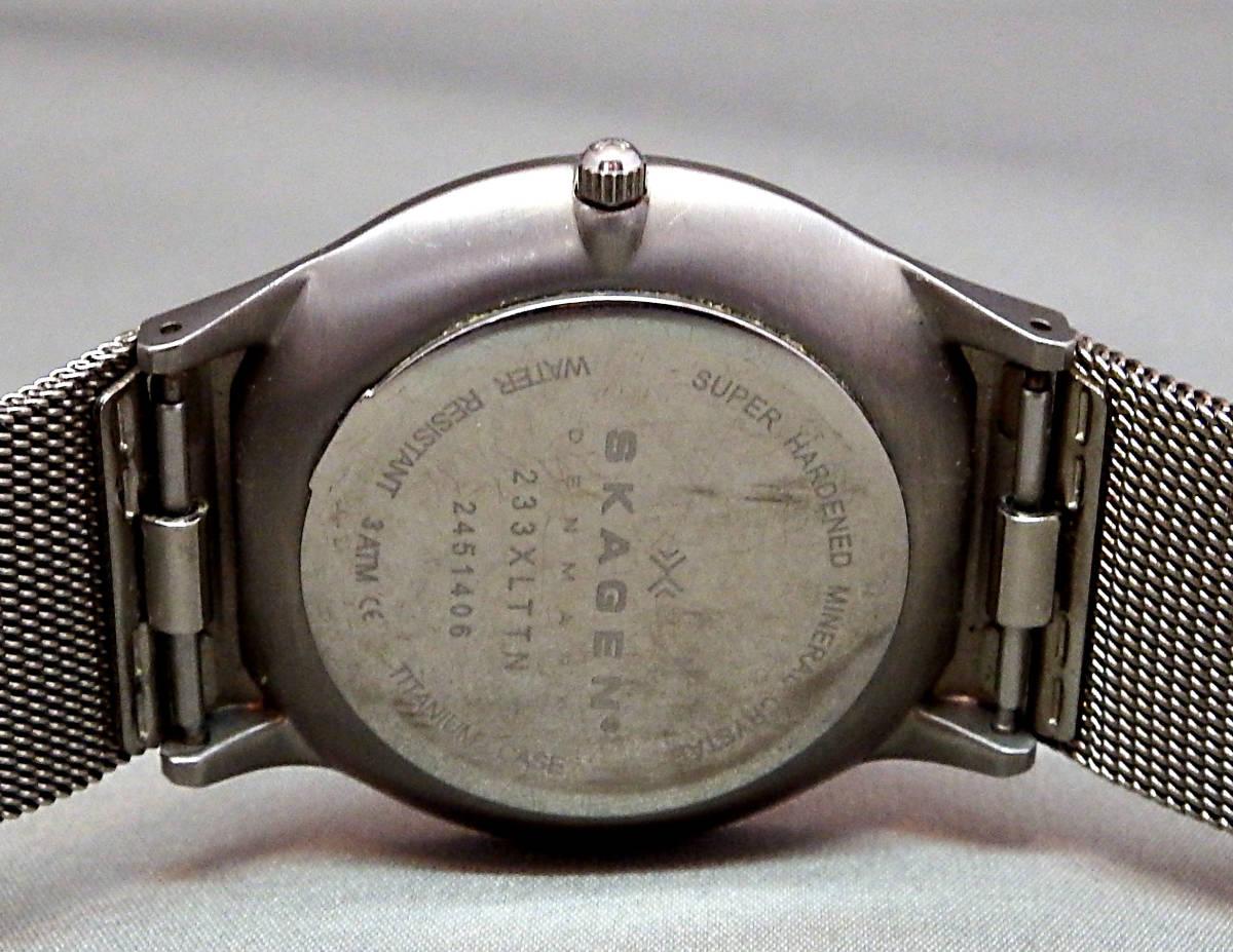 EU-9675■SKAGEN スカーゲン メンズ腕時計 3針カレンダ- 233XLTTN 丸型 中古_画像4