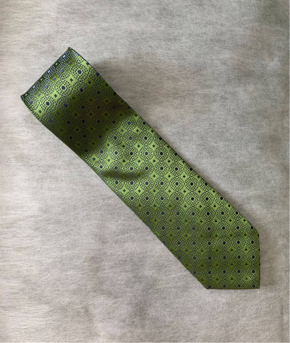 美品 STRASBURGO 購入 Charvet シルクジャガードタイ TIES / ネクタイ フランス製 SILK 絹100% シャルべ ストラスブルゴ GREEN 緑
