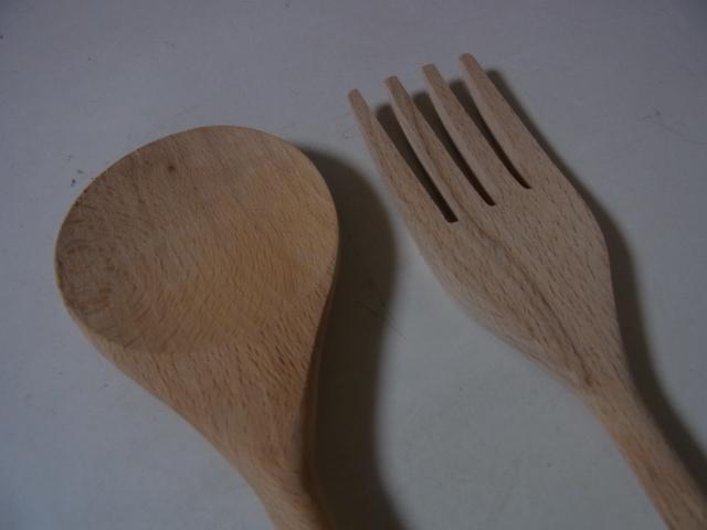 サラダフォーク&サラダスプーン 木製 調理器具 展示品 店舗在庫品 未使用品_画像2