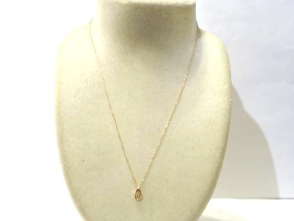○新品同様 ヨンドシー 4℃ ピンクゴールド K10PG ダイヤ ネックレス 1g N0348_画像2