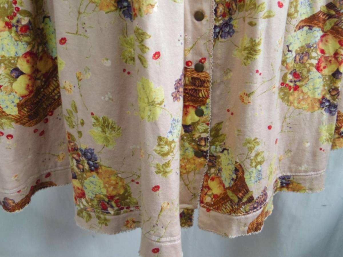 即決!!カネコイサオ KANEKO ISAO 綿100% くすんだピンクベースに果物のかごプリントのロングスカート 中古 ウエストゴム_画像3