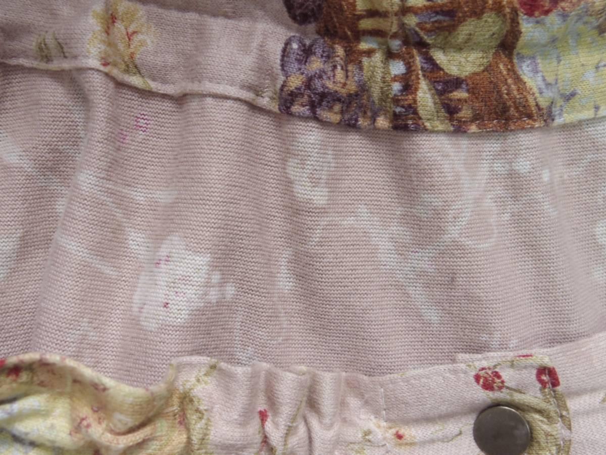 即決!!カネコイサオ KANEKO ISAO 綿100% くすんだピンクベースに果物のかごプリントのロングスカート 中古 ウエストゴム_画像8