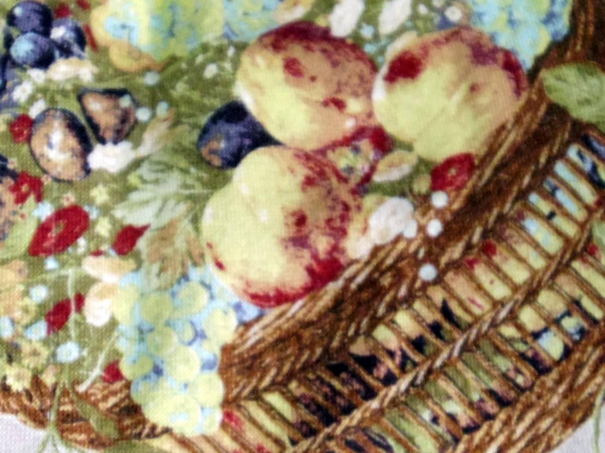 即決!!カネコイサオ KANEKO ISAO 綿100% くすんだピンクベースに果物のかごプリントのロングスカート 中古 ウエストゴム_画像10