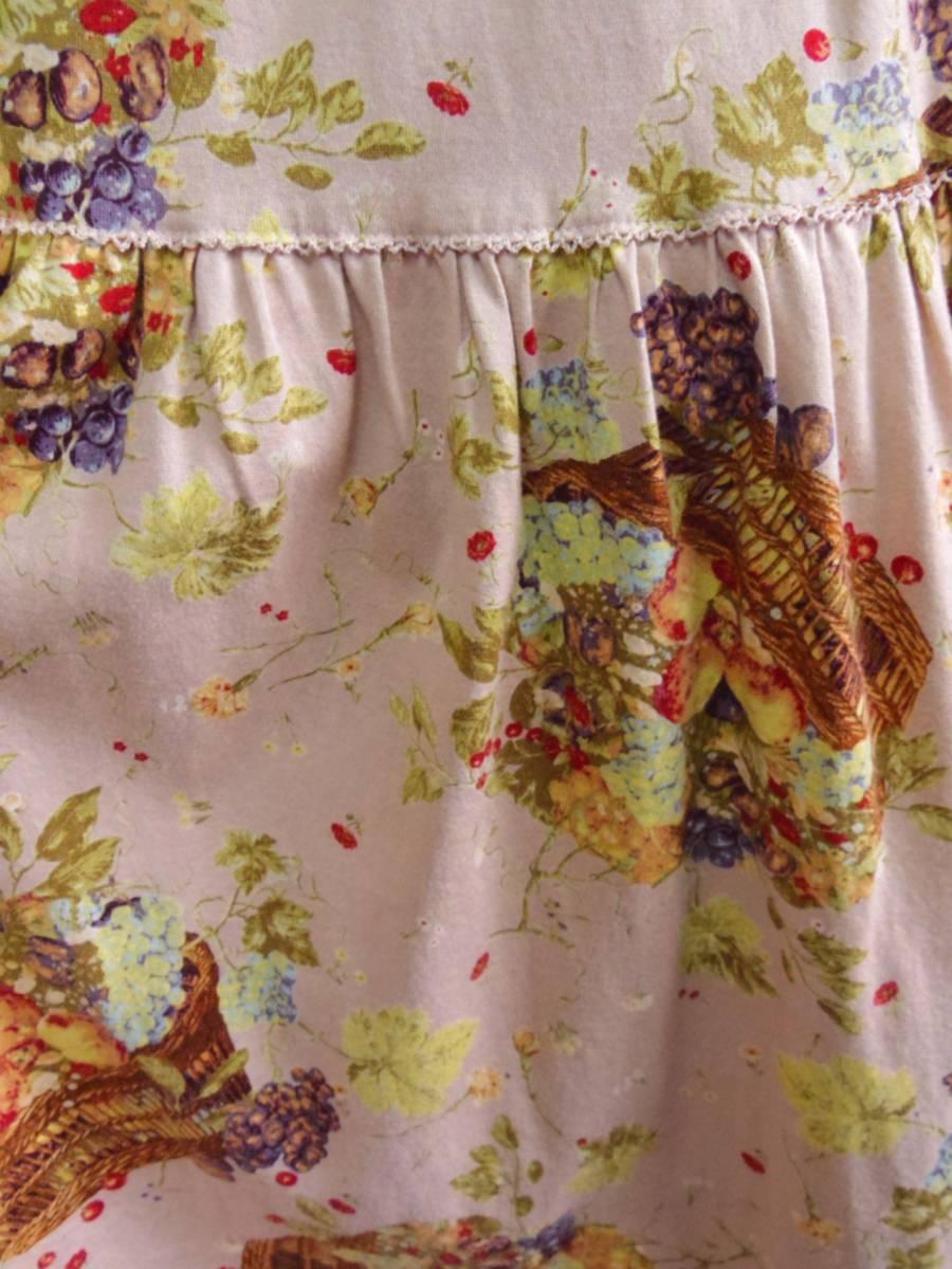 即決!!カネコイサオ KANEKO ISAO 綿100% くすんだピンクベースに果物のかごプリントのロングスカート 中古 ウエストゴム_画像4