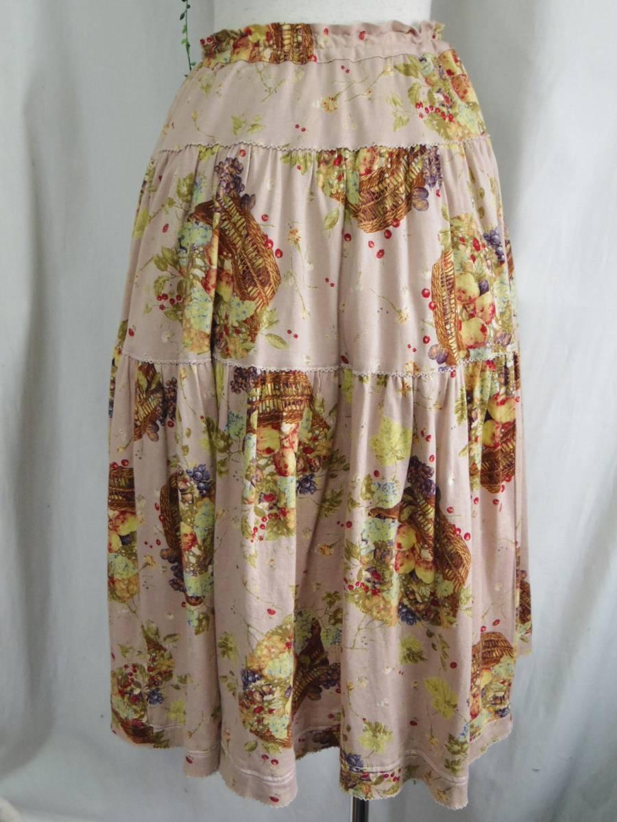 即決!!カネコイサオ KANEKO ISAO 綿100% くすんだピンクベースに果物のかごプリントのロングスカート 中古 ウエストゴム_画像6