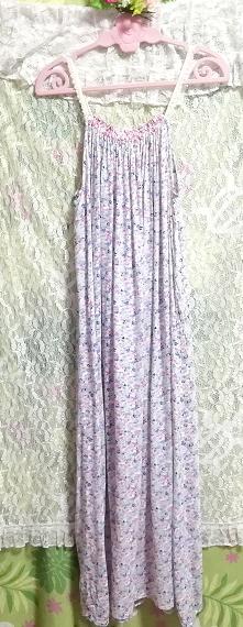 ピンク青花柄キャミソールマキシロングスカートワンピース Pink blue flower pattern camisole maxi long skirt onepiece_画像4