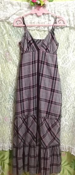 灰黒ピンクチェック柄綿コットン100%キャミソールマキシスカートワンピース Gray black pink plaid cotton camisole maxi skirt onepiece_画像3