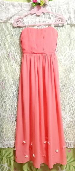 サーモンピンクお花付ネグリジェキャミソールシフォンマキシワンピースドレス Salmon pink negligee camisole chiffon skirt maxi dress_画像4