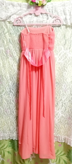 サーモンピンクお花付ネグリジェキャミソールシフォンマキシワンピースドレス Salmon pink negligee camisole chiffon skirt maxi dress_画像5