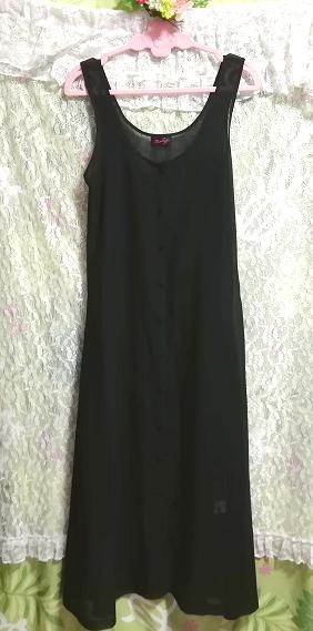 黒ブラックシフォンシースルーノースリーブマキシカーディガン羽織 Black chiffon see through sleeveless maxi cardigan_画像3