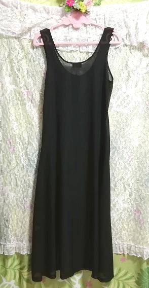 黒ブラックシフォンシースルーノースリーブマキシカーディガン羽織 Black chiffon see through sleeveless maxi cardigan_画像4