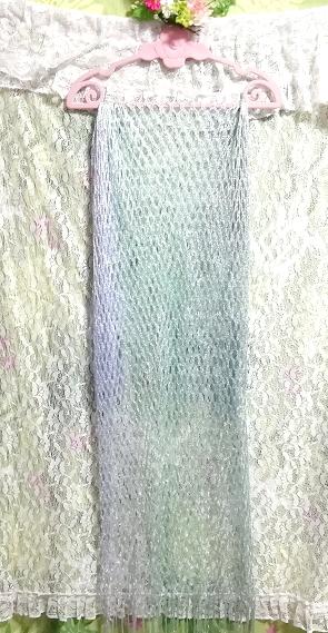 エメラルド青と緑グラデーション編み大判フリンジストール Emerald blue and green gradient color knit fringe stole_画像3