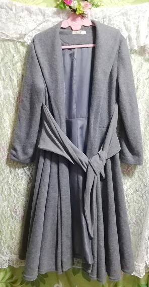 灰グレーロングカーディガンコート羽織外套 Gray long cardigan coat outerwear_画像1