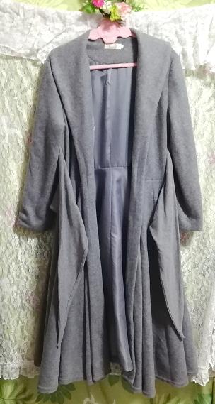 灰グレーロングカーディガンコート羽織外套 Gray long cardigan coat outerwear_画像3