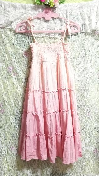ピンクホワイトグラデーションカラー綿コットン100%キャミソールスカートワンピース Pink white gradient color camisole skirt onepiece_画像3
