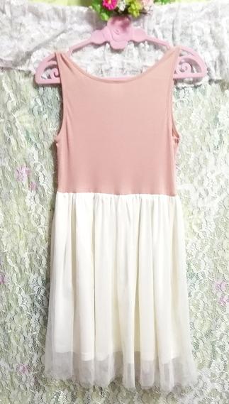 ピンクトップス白チュールスカートノースリーブワンピース Pink tops white tulle skirt sleeveless onepiece_画像2