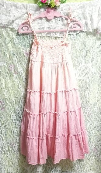 ピンクホワイトグラデーションカラー綿コットン100%キャミソールスカートワンピース Pink white gradient color camisole skirt onepiece_画像4