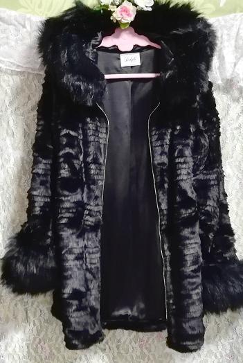 黒ブラック豪華ロングファーコート羽織外套 Black luxury long fur coat_画像5