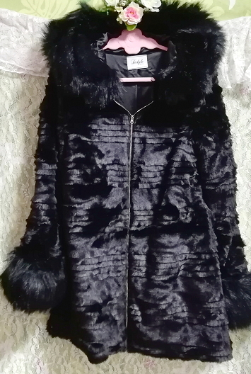 黒ブラック豪華ロングファーコート羽織外套 Black luxury long fur coat_画像4