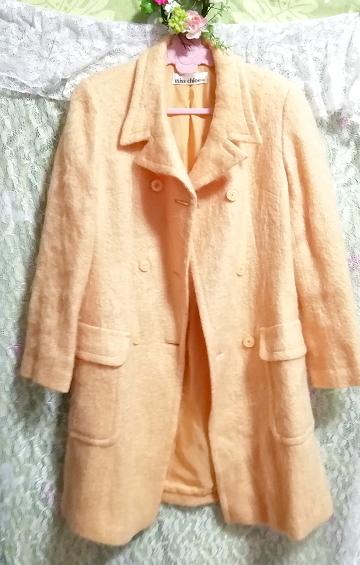 日本製オレンジ毛カーディガンコート羽織外套 Made in Japan orange hair cardigan coat_画像2