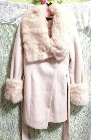 桜ピンクラビットファーロングコート羽織外套 Sakura pink rabbit fur long coat_画像2