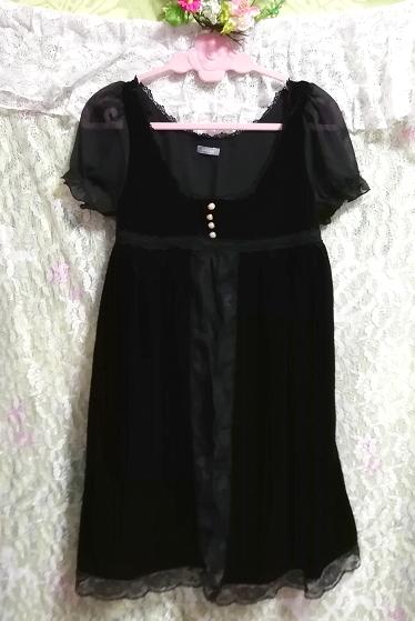 黒ブラックベロアレース半袖チュニックワンピース Black velour lace short sleeve tunic onepiece_画像2