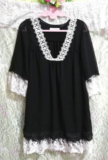 黒ブラックシフォン白レース長袖チュニックトップス Black chiffon white lace long sleeve tunic tops_画像3
