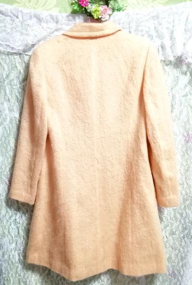 日本製オレンジ毛カーディガンコート羽織外套 Made in Japan orange hair cardigan coat_画像3