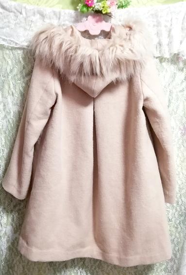 ピンクベージュフワフワファーフードコート羽織外套 Pink beige fluffy food coat_画像4