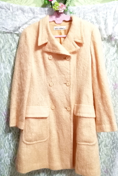 日本製オレンジ毛カーディガンコート羽織外套 Made in Japan orange hair cardigan coat_画像1