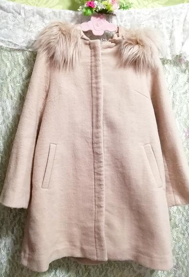 ピンクベージュフワフワファーフードコート羽織外套 Pink beige fluffy food coat_画像3
