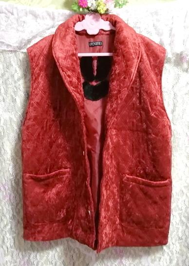 赤朱色レッド光沢豪華ベスト Scarlet red luster luxury vest_画像2