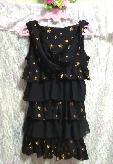 黒ブラックハロウィン星柄3段フリルスカートチュニックワンピース Black halloween star pattern three steps ruffle skirt tunic onepiece_画像4