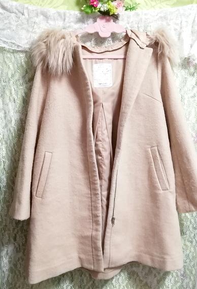 ピンクベージュフワフワファーフードコート羽織外套 Pink beige fluffy food coat_画像2