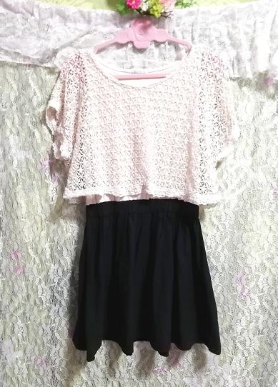 白フローラルホワイトレース黒スカート綿コットン100%チュニックワンピース Floral white lace tops black skirt cotton tunic onepiece_画像3