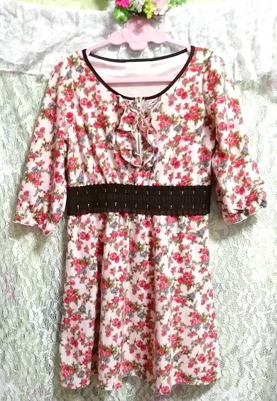 ピンク花柄フリル襟長袖帯チュニックワンピース Pink floral pattern ruffle collar long sleeve belt tunic onepiece_画像3