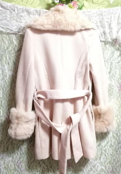 桜ピンクラビットファーロングコート羽織外套 Sakura pink rabbit fur long coat_画像3