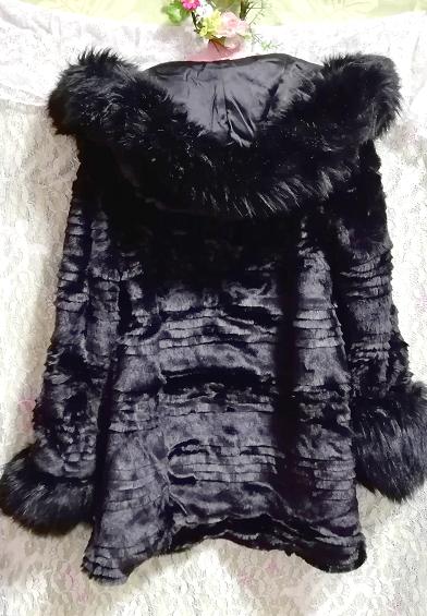 黒ブラック豪華ロングファーコート羽織外套 Black luxury long fur coat_画像6