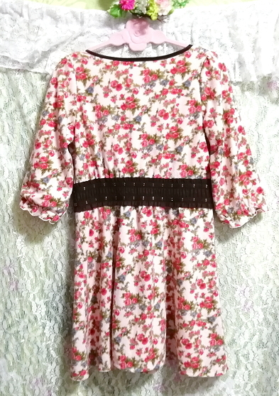 ピンク花柄フリル襟長袖帯チュニックワンピース Pink floral pattern ruffle collar long sleeve belt tunic onepiece_画像4