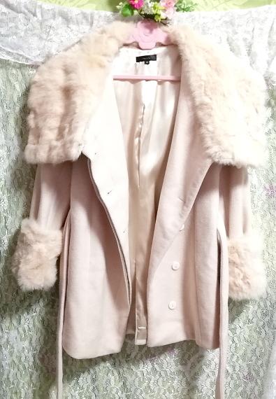桜ピンクラビットファーロングコート羽織外套 Sakura pink rabbit fur long coat_画像1