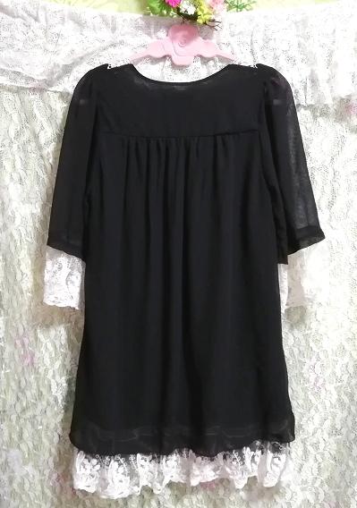 黒ブラックシフォン白レース長袖チュニックトップス Black chiffon white lace long sleeve tunic tops_画像4