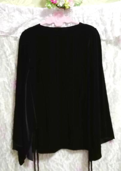 アメリカUSA製黒ブラックベロア着物風長袖チュニックトップス Black velour kimono style long sleeve tunic tops_画像2
