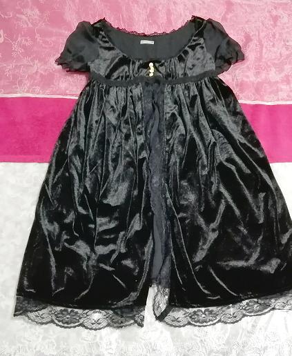 黒ブラックベロアレース半袖チュニックワンピース Black velour lace short sleeve tunic onepiece_画像1
